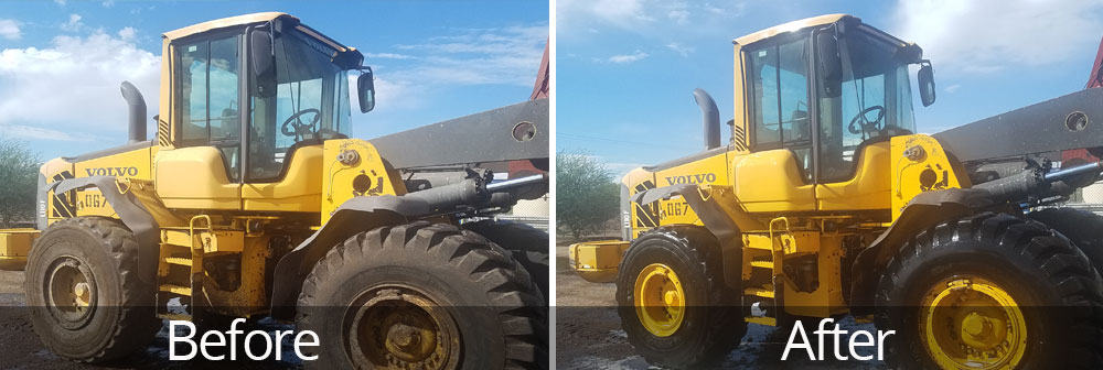 Heavy equipment power washing before & after.