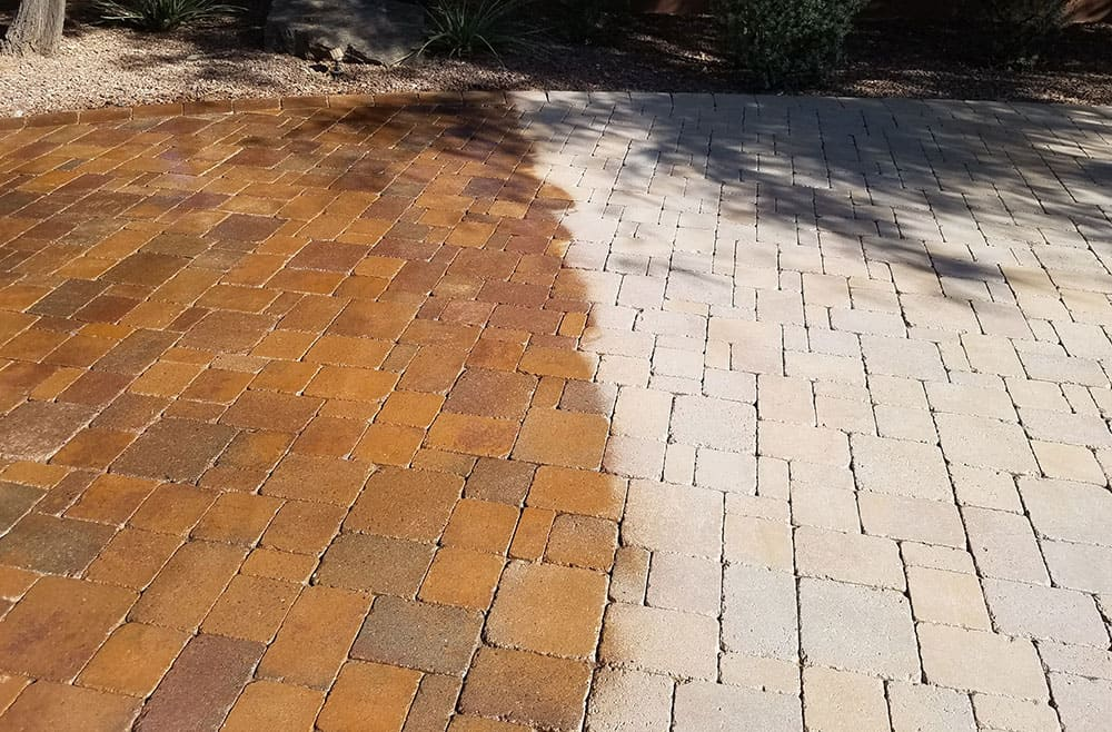 Paver sealing before and after comparison.